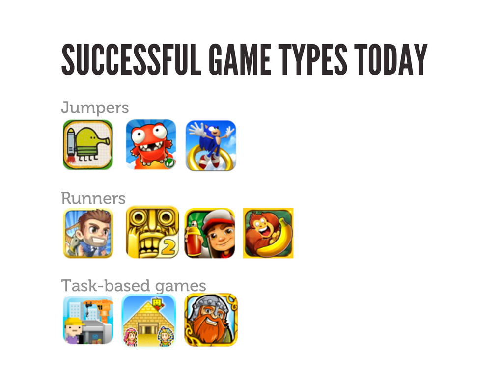 SUCCESSFUL GAME TYPES TODAY Jumpers Runners Tas...