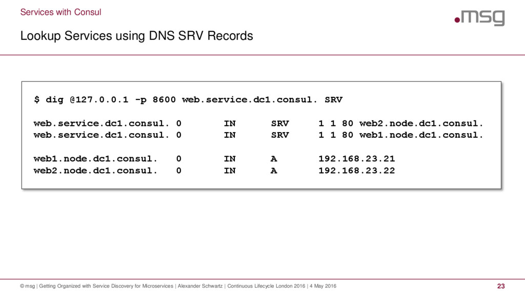 Services with Consul Lookup Services using DNS ...