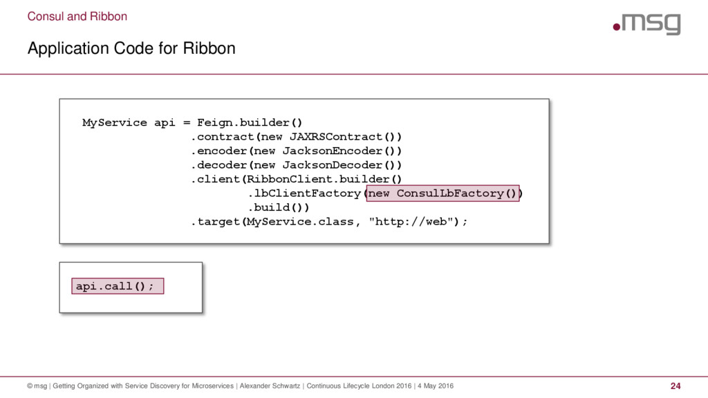 Consul and Ribbon Application Code for Ribbon ©...