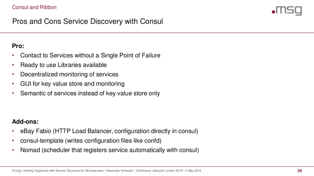 Consul and Ribbon Pros and Cons Service Discove...