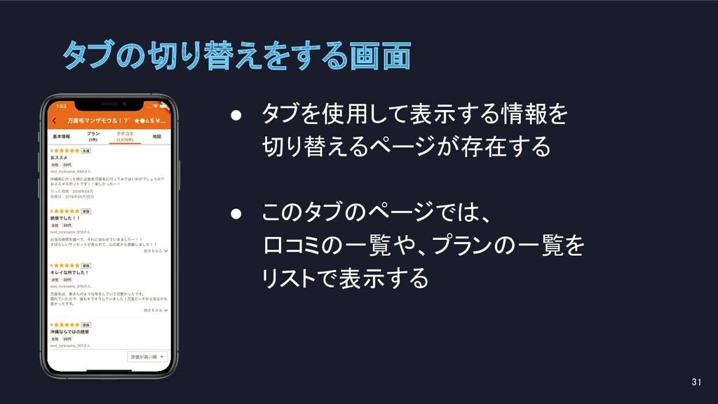 ● タブを使用して表示する情報を 切り替えるページが存在する  ● このタブのページでは...