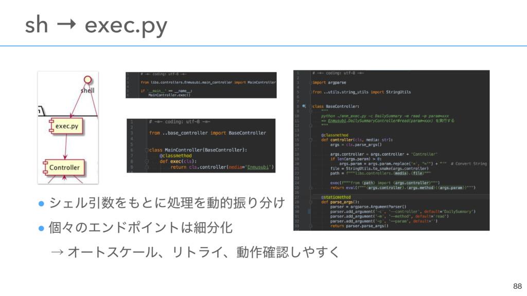 ɹsh → exec.py ● γΣϧҾΛͱʹॲཧΛಈతৼΓ͚ ● ݸʑͷΤϯυ...