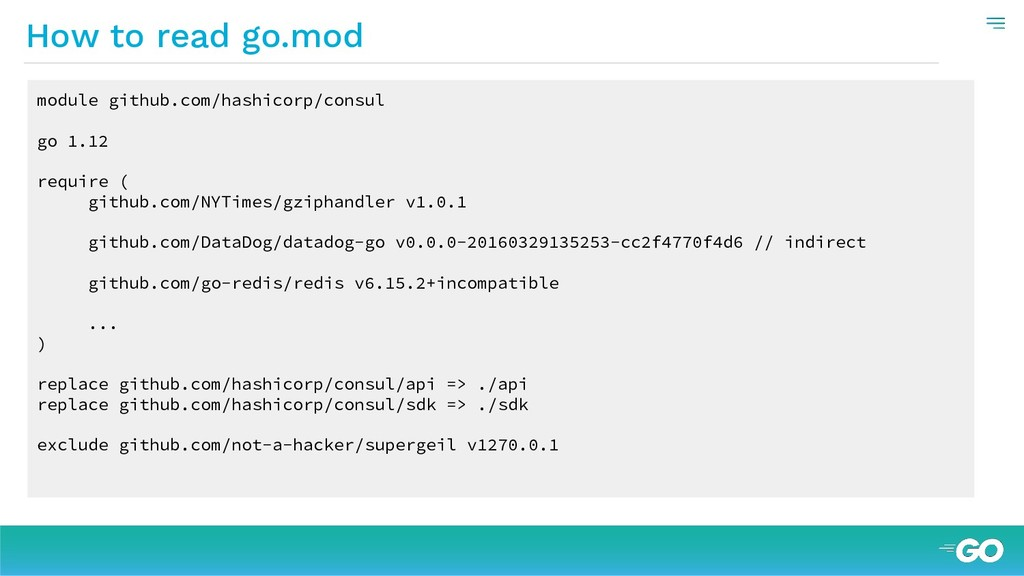 How to read go.mod module github.com/hashicorp/...