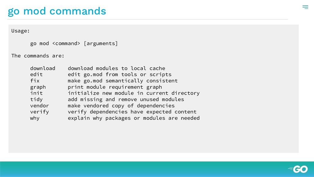 Usage: go mod <command> [arguments] The command...