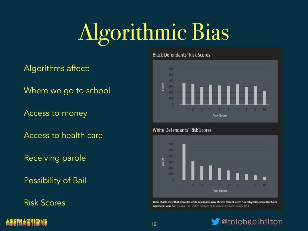Algorithmic Bias Algorithms affect: Where we go...