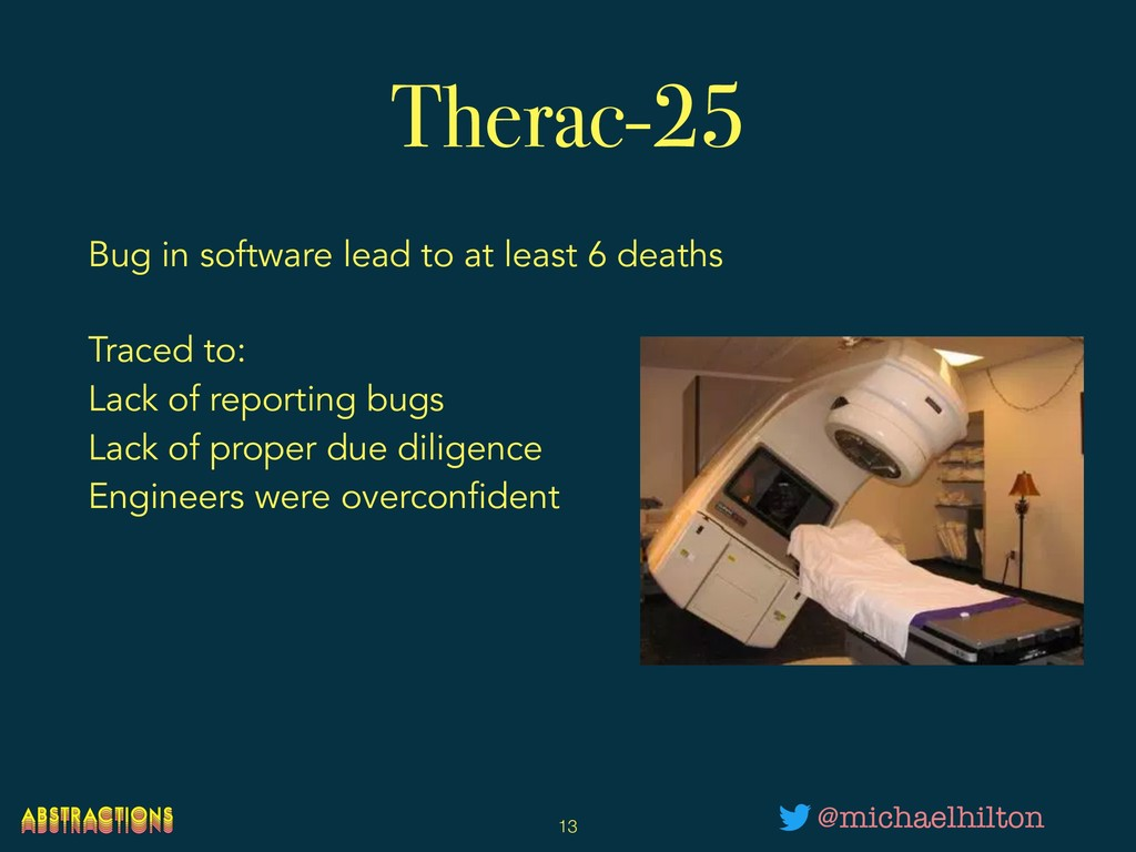Therac-25 Bug in software lead to at least 6 de...