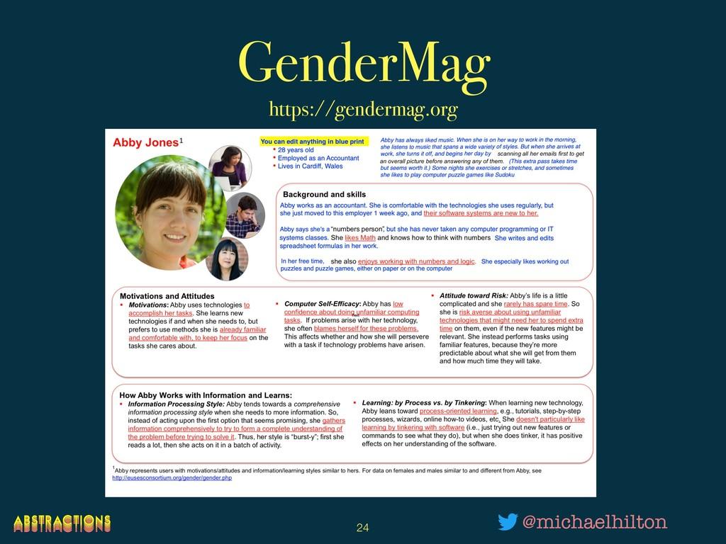 GenderMag https://gendermag.org !24 @michaelhil...