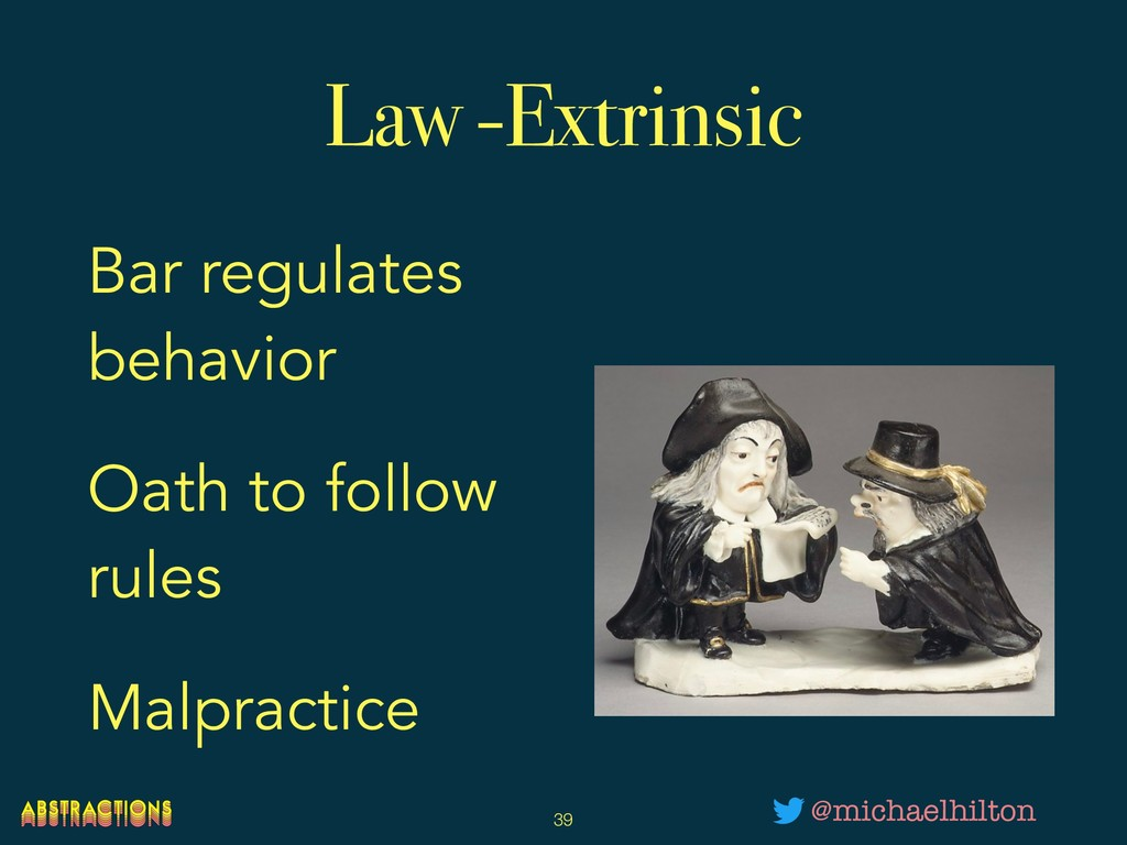 Law -Extrinsic Bar regulates behavior Oath to f...