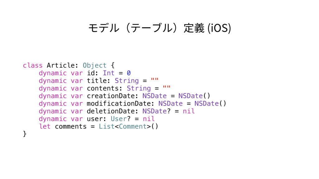 class Article: Object { dynamic var id: Int = 0...