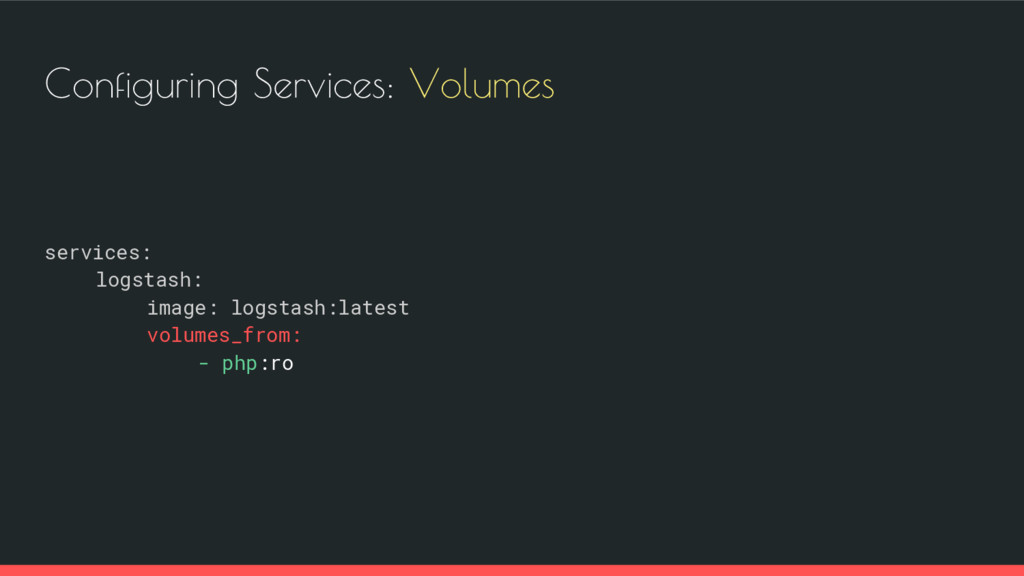 Configuring Services: Volumes services: logstas...