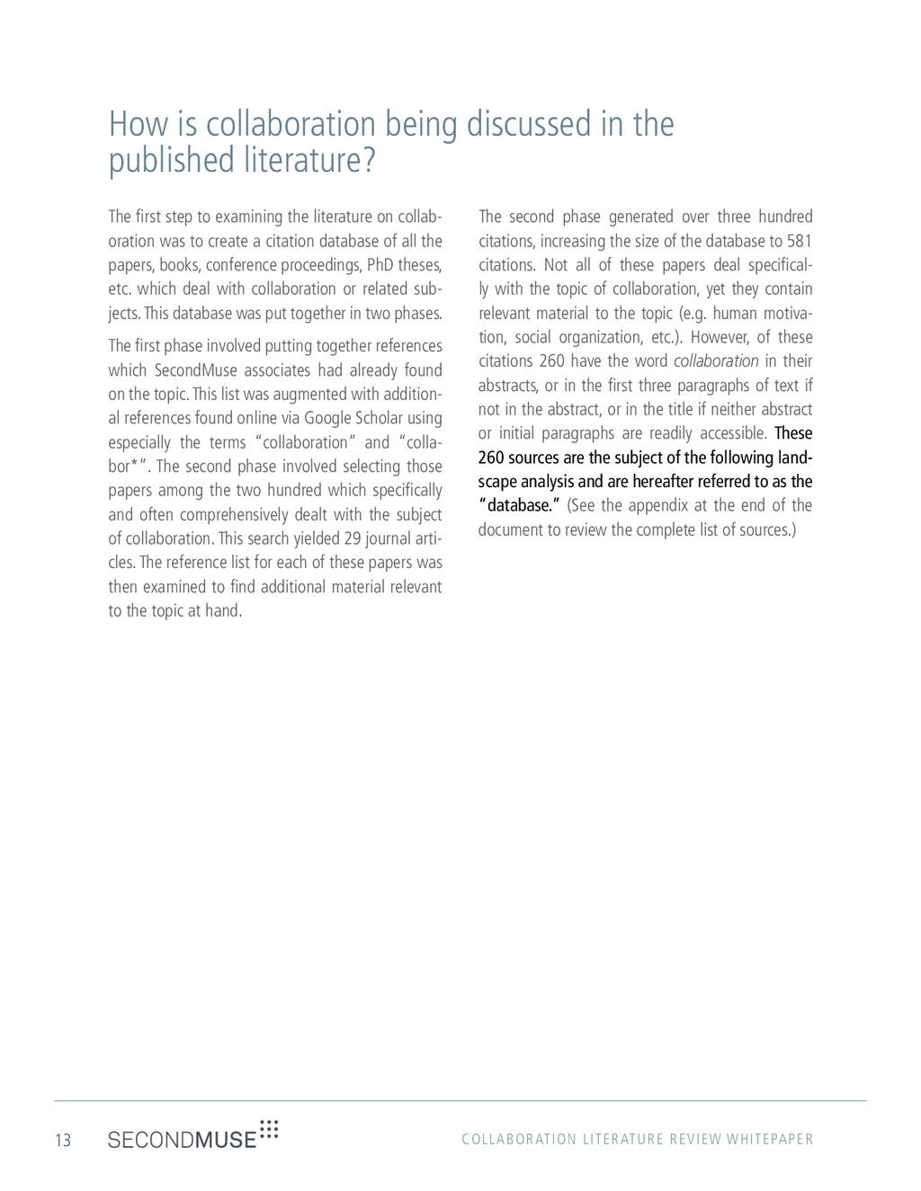 13 COLLABORATION LITERATURE REVIEW WHITEPAPER H...