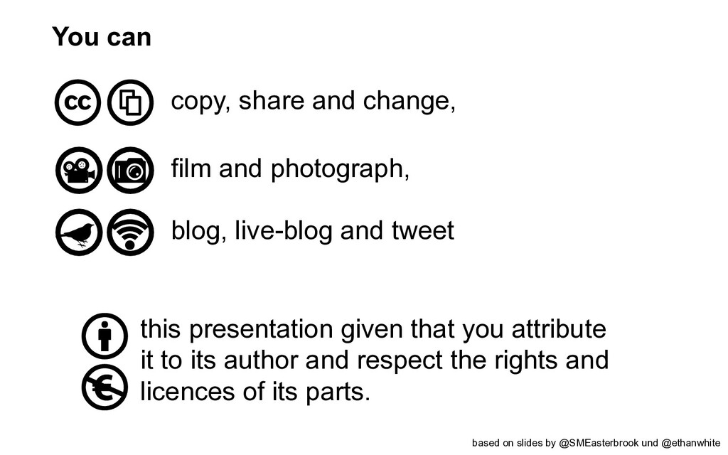 You can copy, share and change, film and photog...