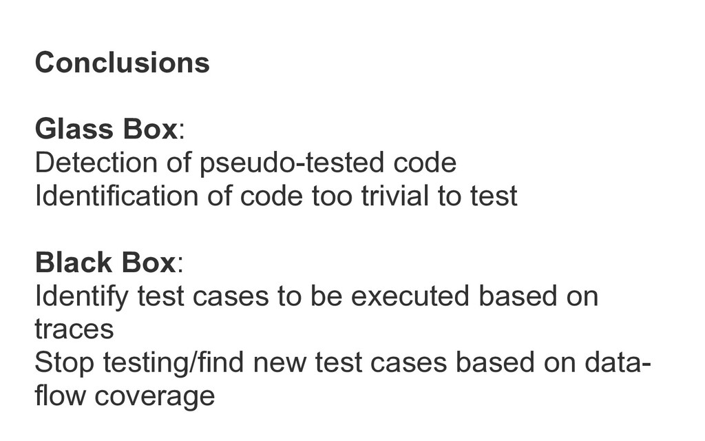 Conclusions   Glass Box:   Detection of pseudo-...