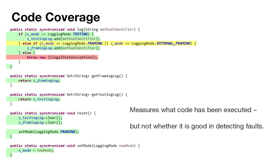 Code Coverage Measures what code has been execu...