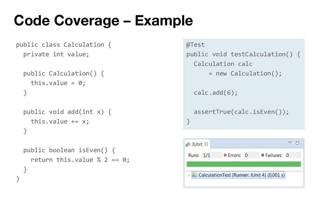 Code Coverage – Example public class Calculatio...