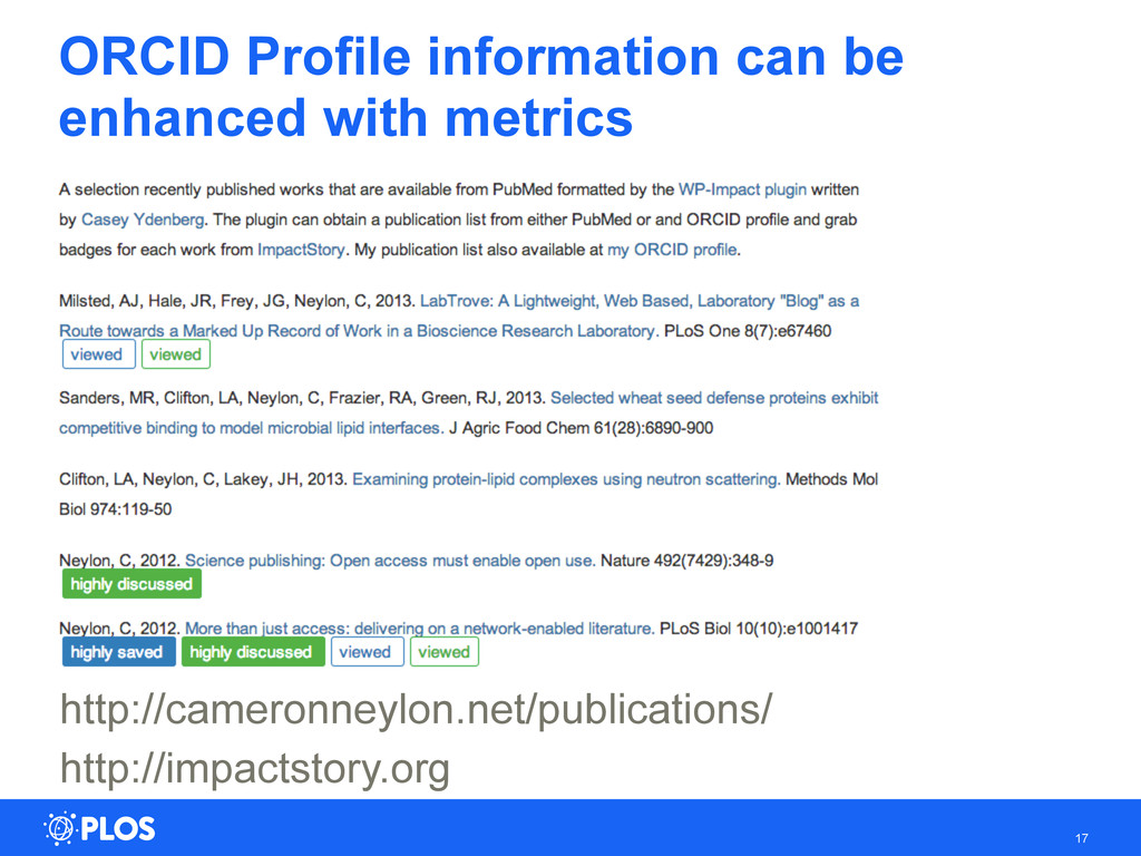ORCID Profile information can be enhanced with ...