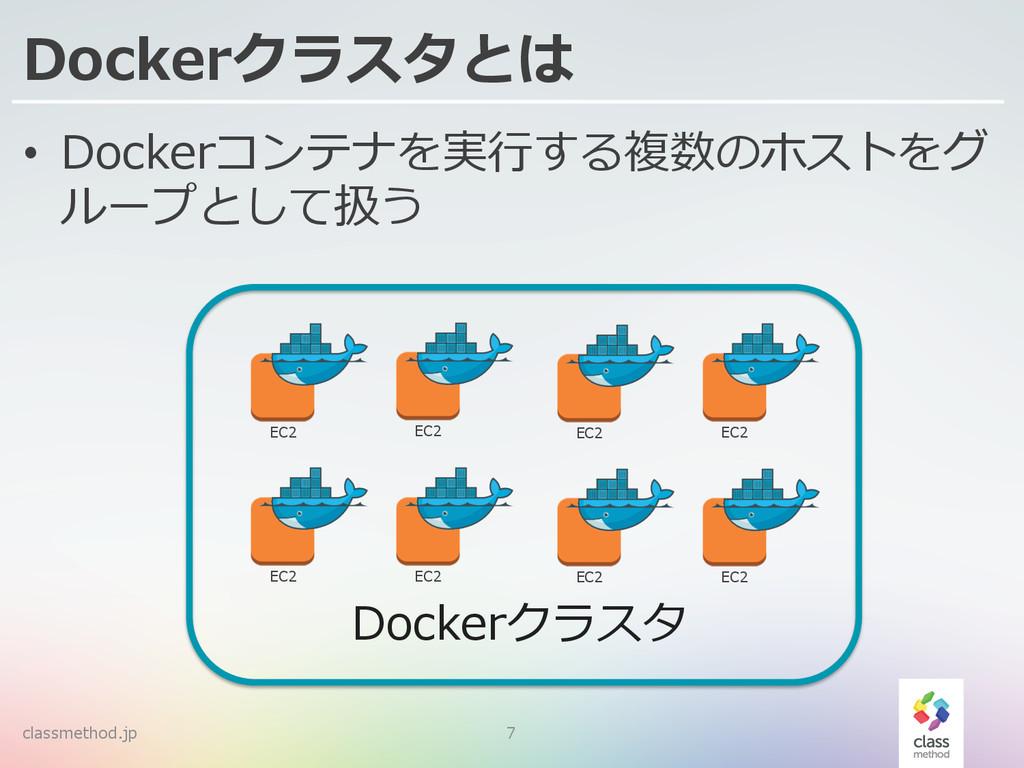 Dockerクラスタとは • Dockerコンテナを実⾏行行する複数のホストをグ ループとし...