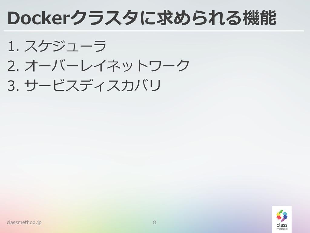 Dockerクラスタに求められる機能 1. スケジューラ 2. オーバーレイネットワーク ...