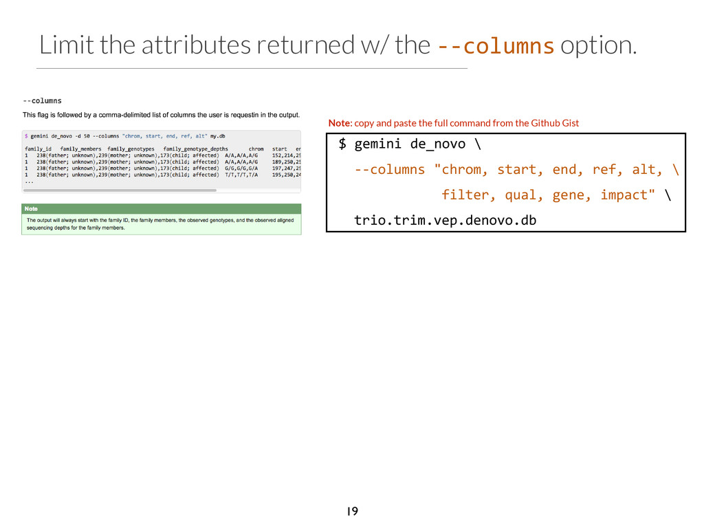 Limit the attributes returned w/ the -­‐-­‐colu...