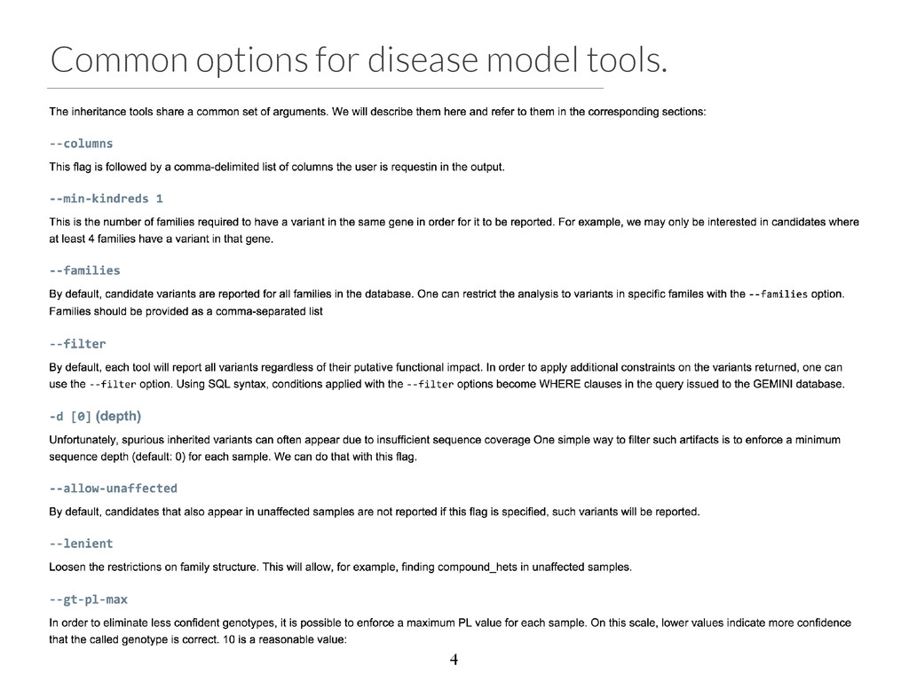 Common options for disease model tools. 4