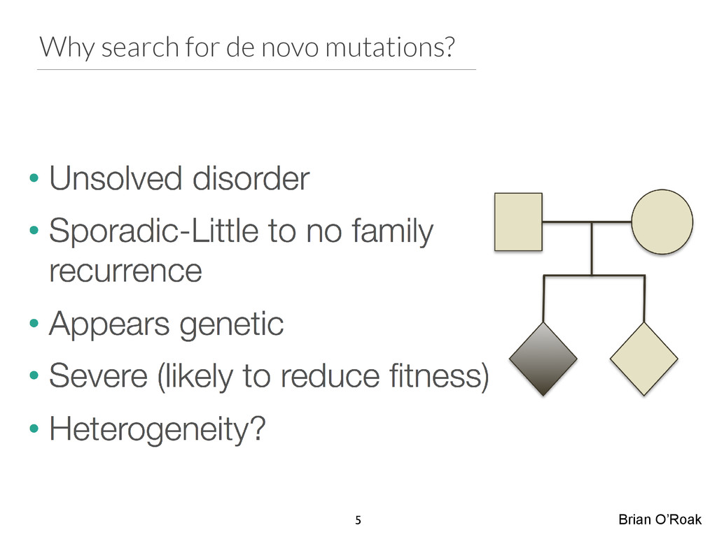 Why search for de novo mutations? Brian O'Roak 5