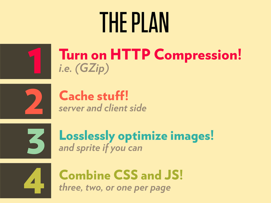 THE PLAN 1 2 3 4 Turn on HTTP Compression! i.e....