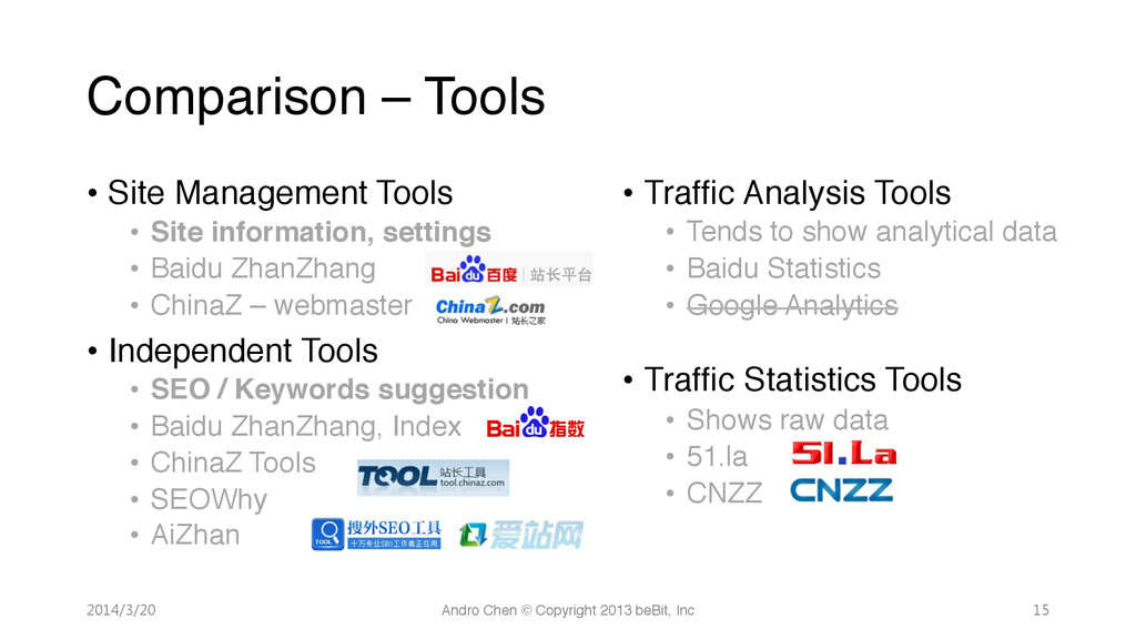 Comparison – Tools • Site Management Tools! ...