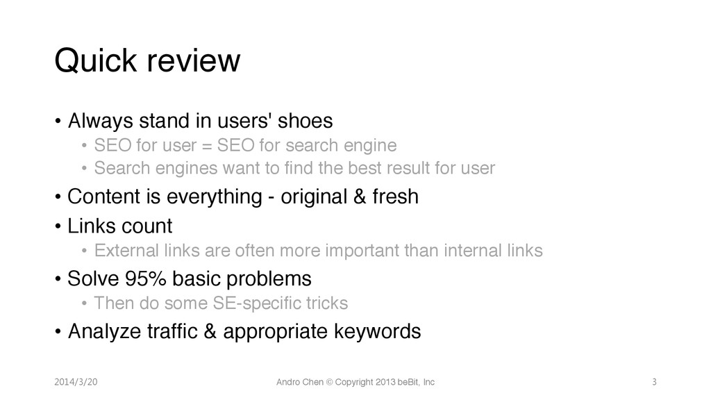 """Quick review • Always stand in users' shoes""""..."""