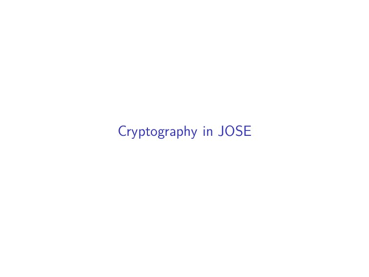 Cryptography in JOSE