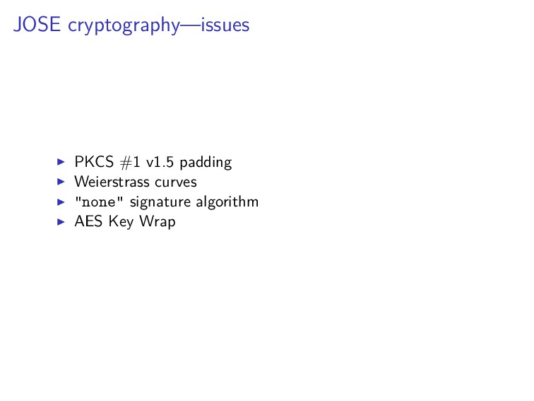 JOSE cryptography—issues PKCS #1 v1.5 padding W...