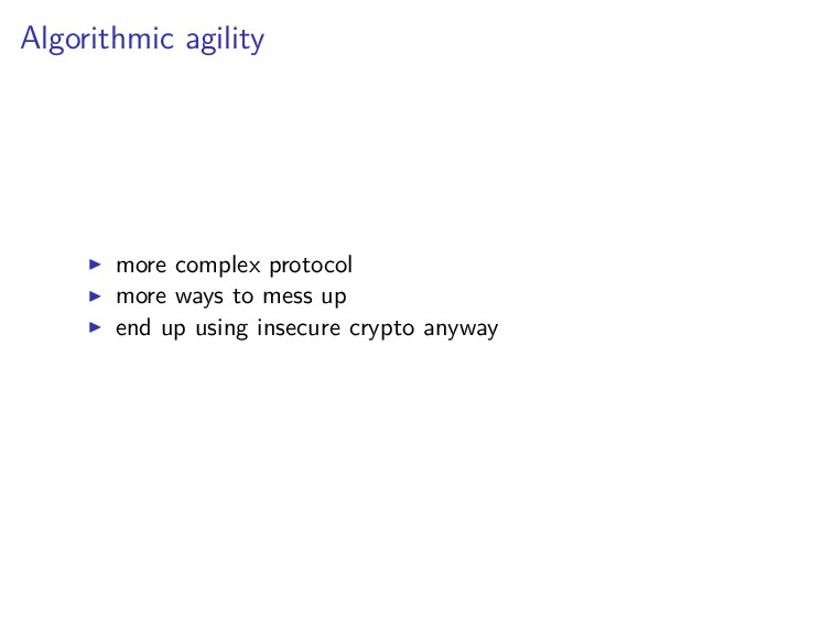 Algorithmic agility more complex protocol more ...