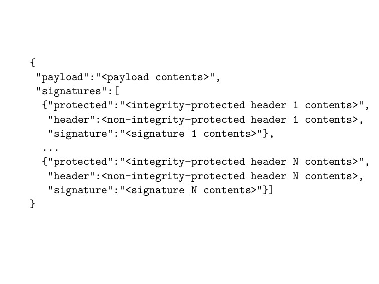 "{ ""payload"":""<payload contents>"", ""signatures"":..."