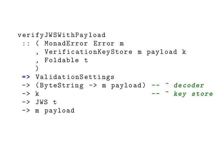 verifyJWSWithPayload :: ( MonadError Error m , ...