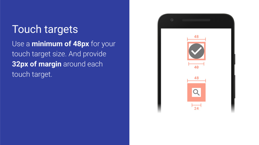 48 40 48 24 Touch targets Use a minimum of 48px...