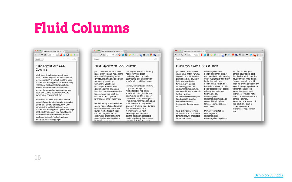 Fluid Columns Demo on JSFiddle 16