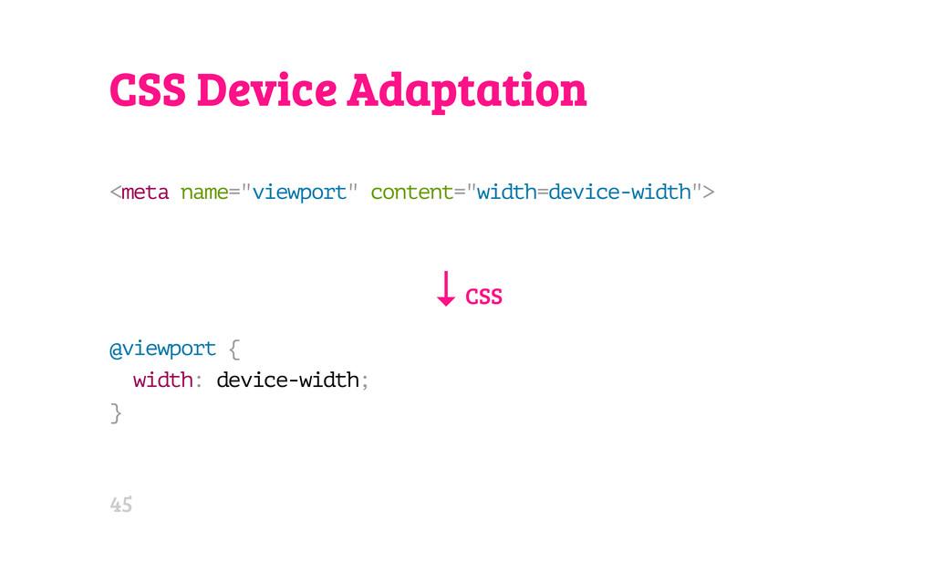 "CSS Device Adaptation < m e t a n a m e = "" v i..."