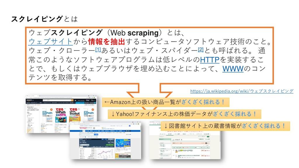 スクレイピングとは https://ja.wikipedia.org/wiki/ウェブスクレイ...