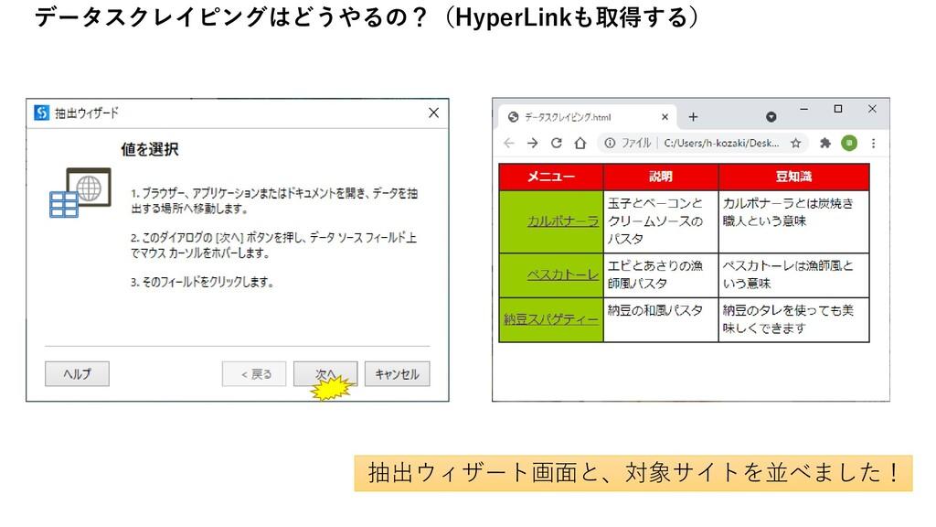 抽出ウィザート画面と、対象サイトを並べました! データスクレイピングはどうやるの?(Hyper...