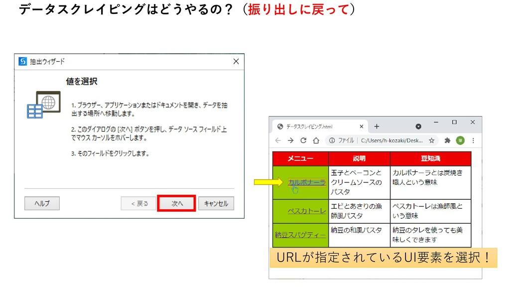 データスクレイピングはどうやるの?(振り出しに戻って) URLが指定されているUI要素を選択!