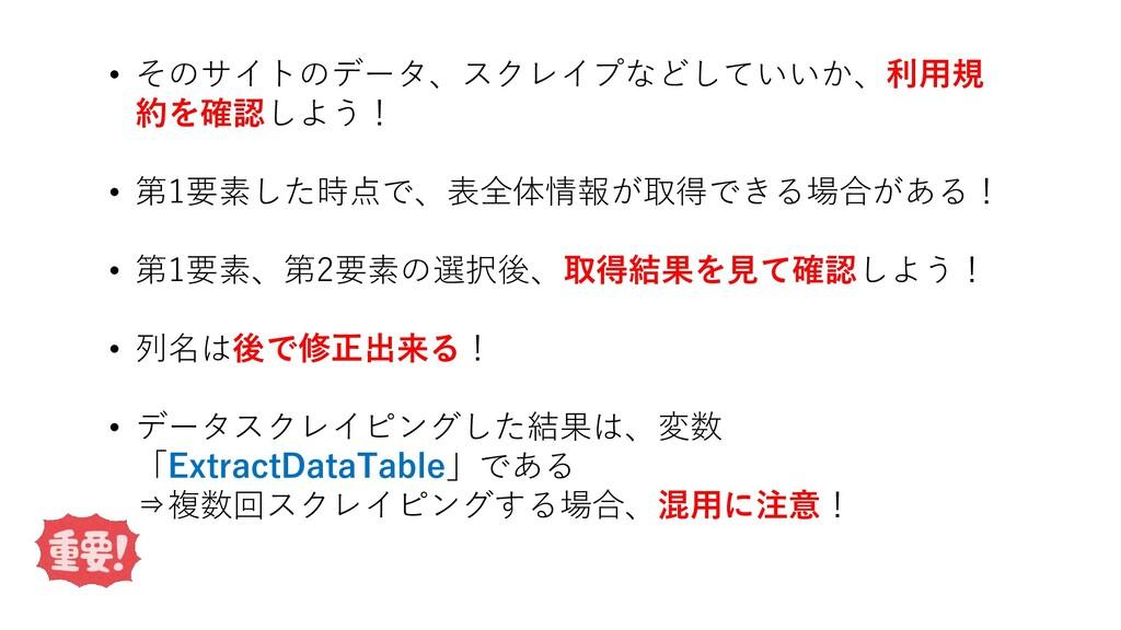 • そのサイトのデータ、スクレイプなどしていいか、利用規 約を確認しよう! • 第1要素した時...