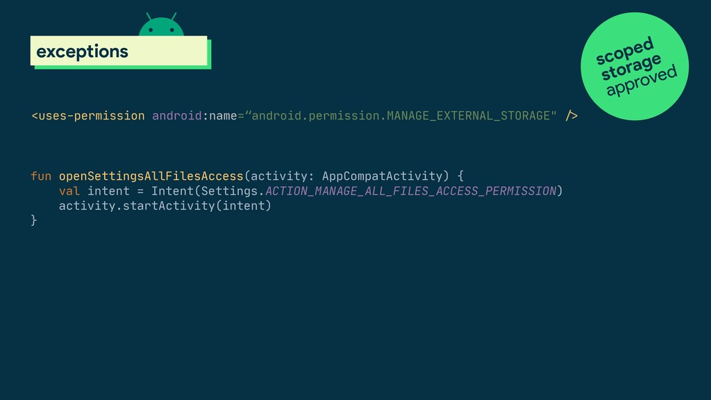 scoped storage exceptions <uses-permission andr...