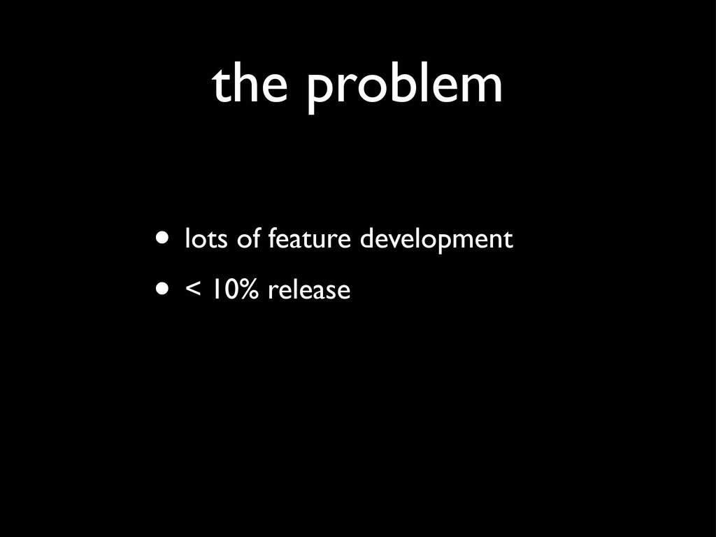 the problem • lots of feature development • < 1...