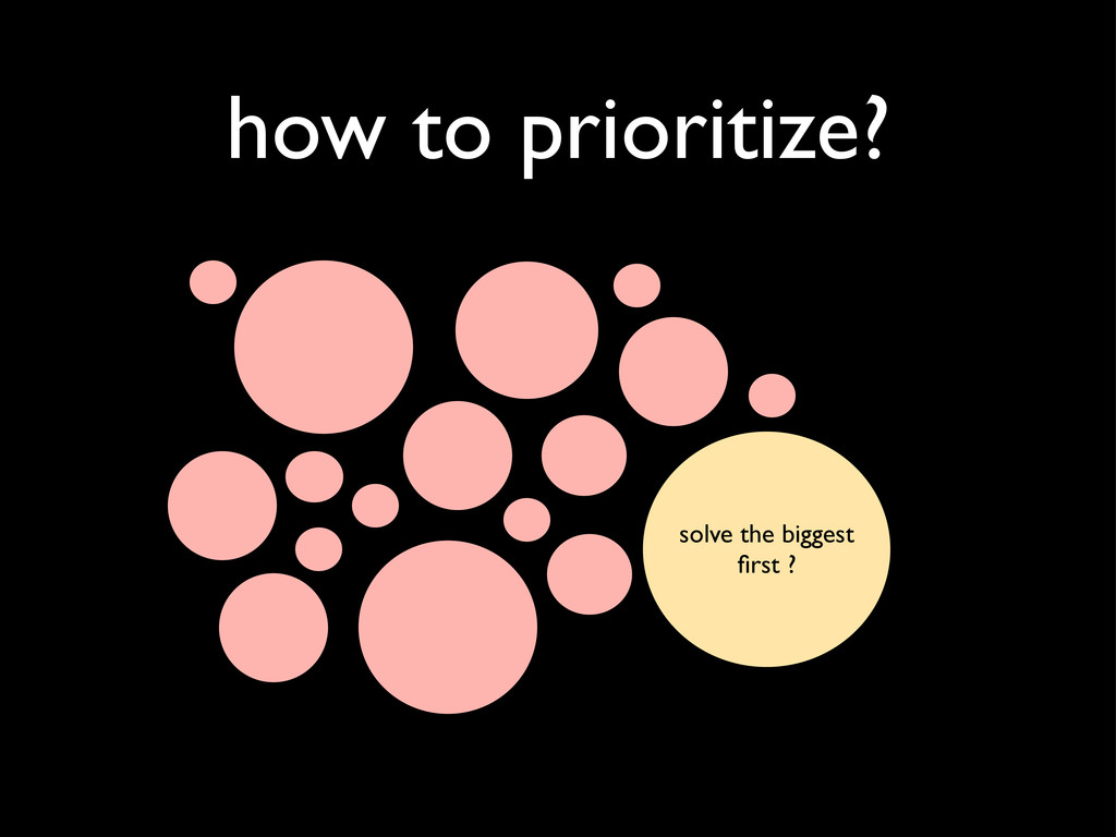how to prioritize? solve the biggest first ?