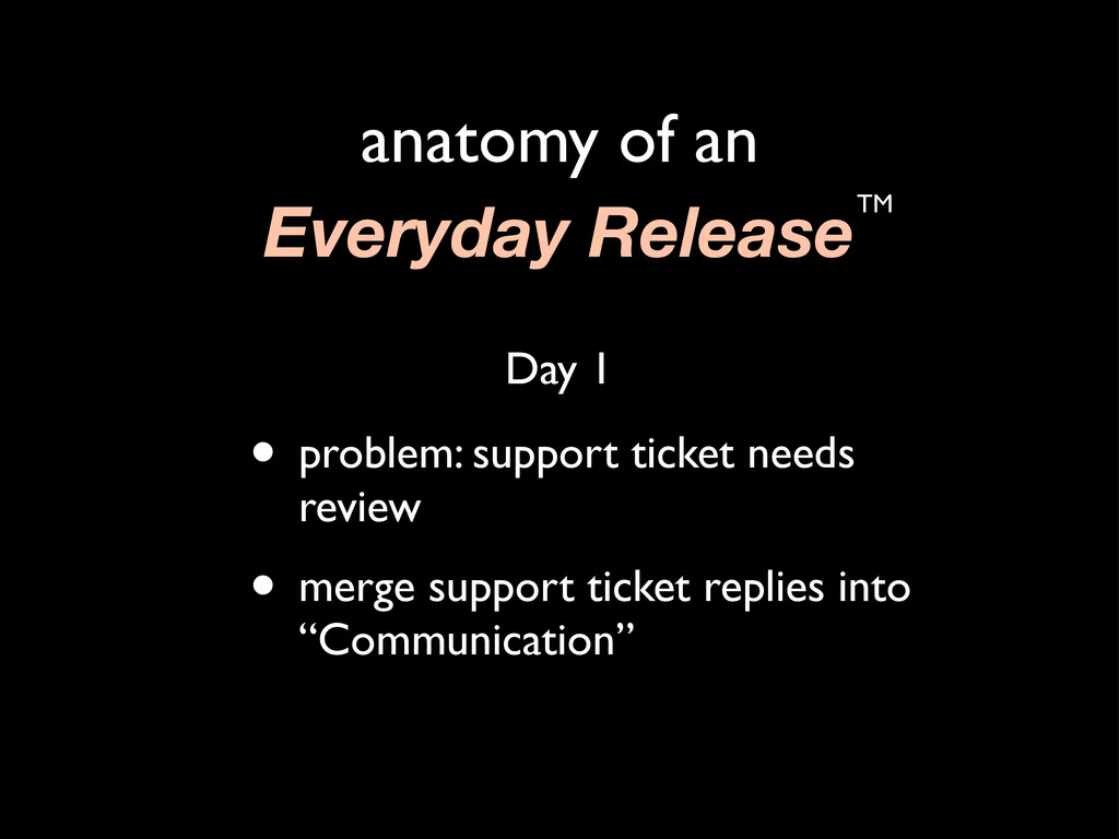 anatomy of an Everyday ReleaseTM • problem: sup...