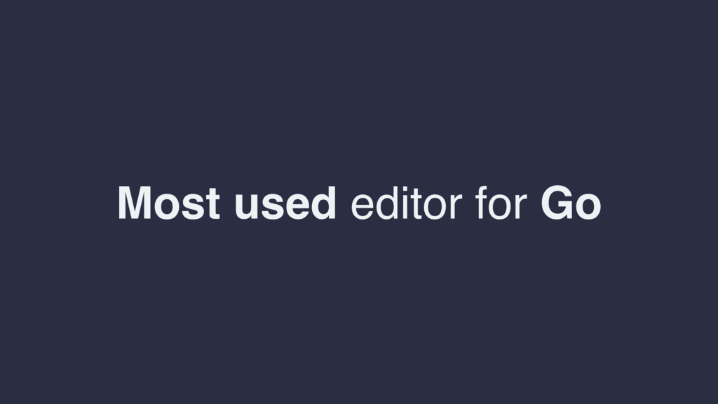 Most used editor for Go