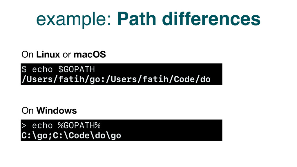 example: Path differences $ echo $GOPATH /Users...