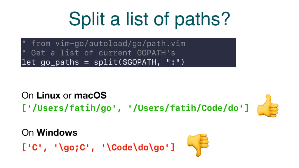 "Split a list of paths? "" from vim-go/autoload/g..."