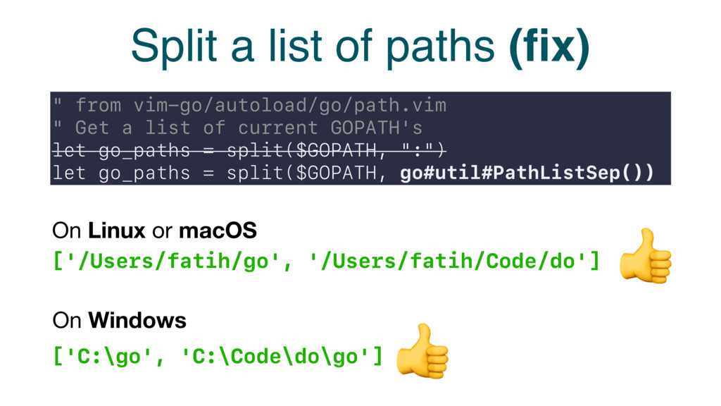 "Split a list of paths (fix) "" from vim-go/autolo..."