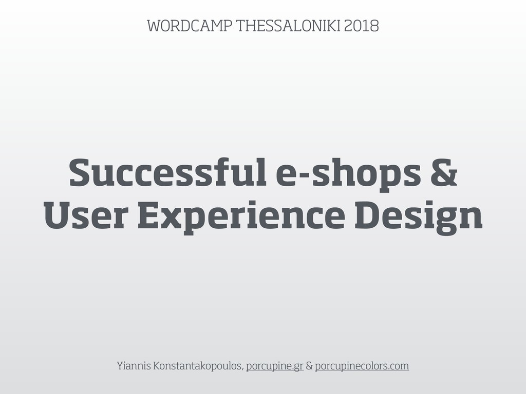 Successful e-shops & User Experience Design Yia...
