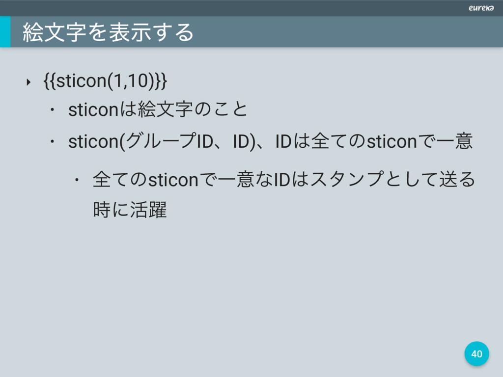 40 ֆจΛදࣔ͢Δ ‣ {{sticon(1,10)}} • sticonֆจͷ͜ͱ ...